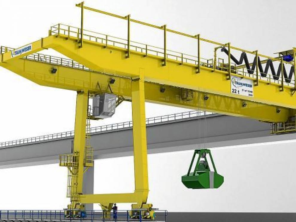 La grúa semi-pórtico con cuchara fabricada por Taim, que será instalada en la refinería murciana de Repsol.