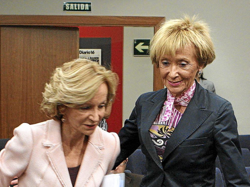 Las vicepresidentas Salgado y De la Vega, ayer.