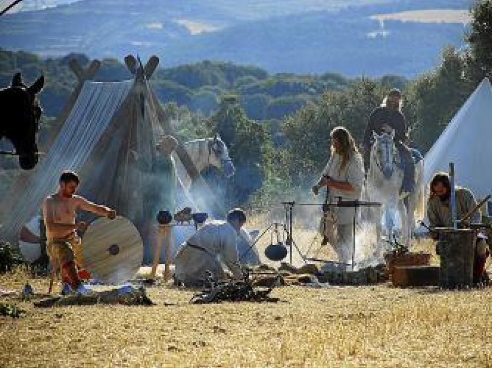Recreación histórica de los soldados carolingios.