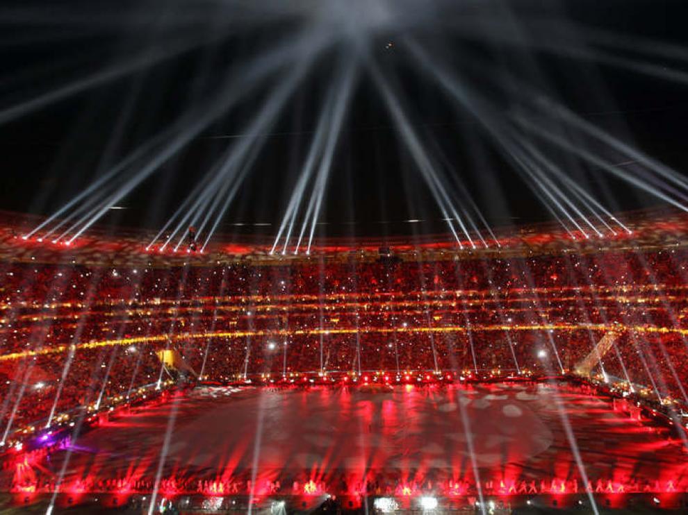 La ceremonia de clausura, en el Soccer City, antes del partido