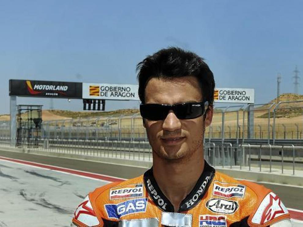 Dani Pedrosa conoció Motorland ayer. En la imagen, en el 'pit lane' del circuito alcañizano.