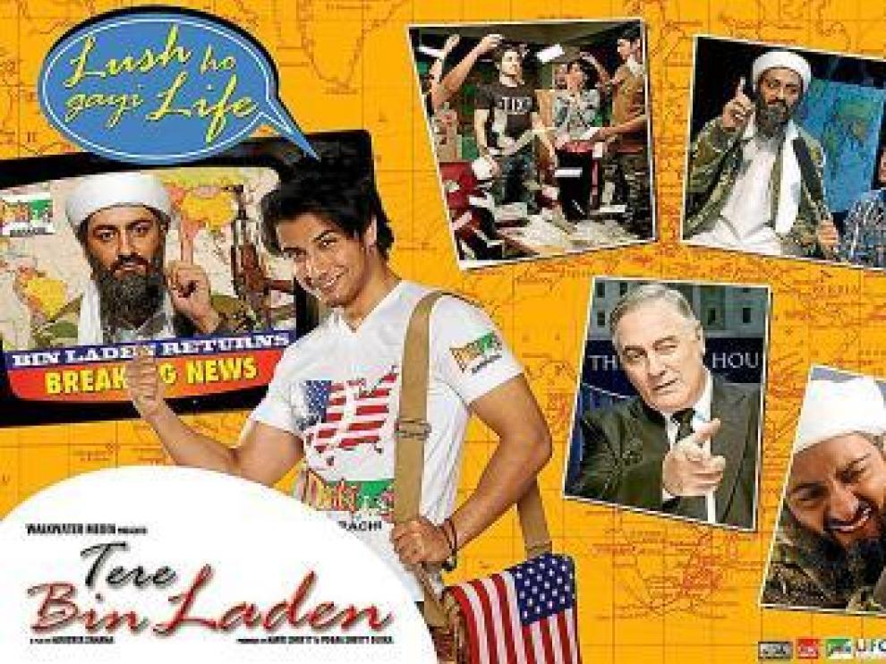 Uno de los carteles promocionales de la película 'Tere Bin laden'.