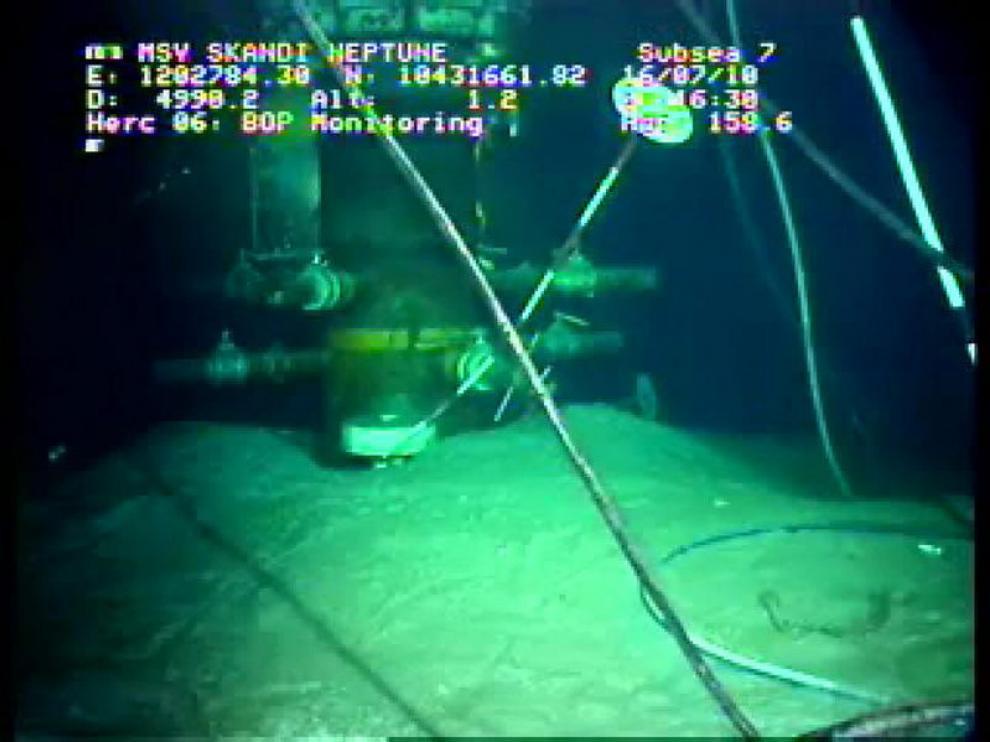 Imagen del sellado de la fuga que muestra que, al parecer, ya no sale petróleo