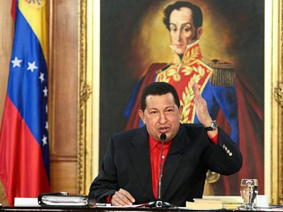 El presidente venezolano Hugo Chávez en el Palacio de Miraflores de Caracas el pasado viernes.