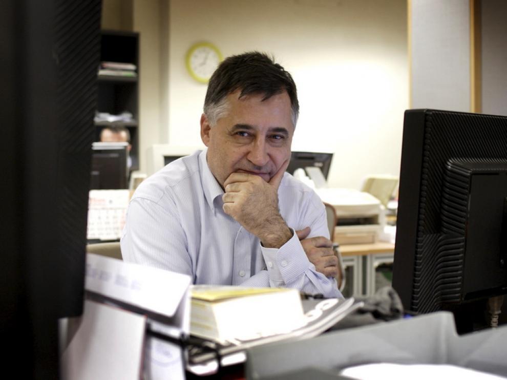 El fotoperiodista Gervasio Sánchez, en la redacción de HERALDO DE ARAGÓN.