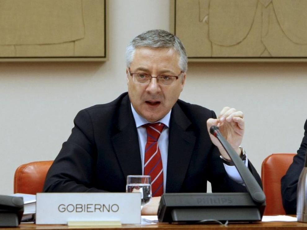 José Blanco durante una intervención en la Comisión de Fomento del Congreso de los Diputados