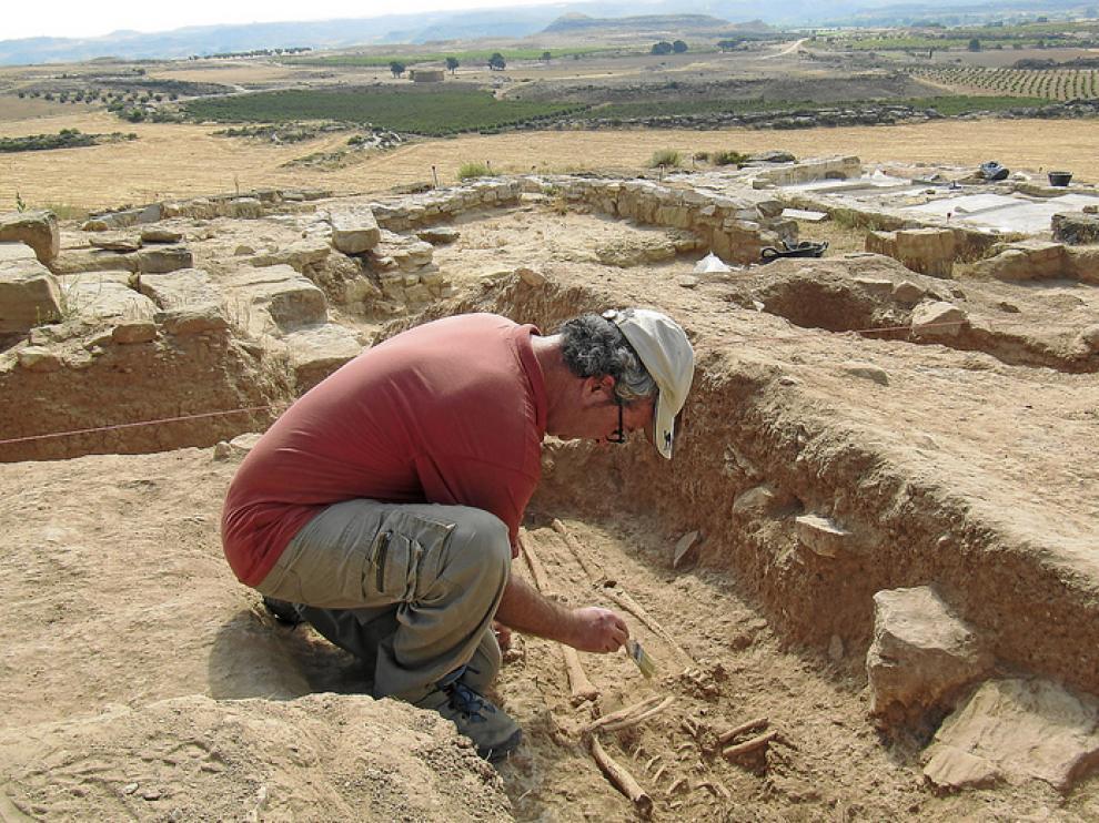 Aparecen restos humanos del siglo IV en las excavaciones de un yacimiento de Alcañiz