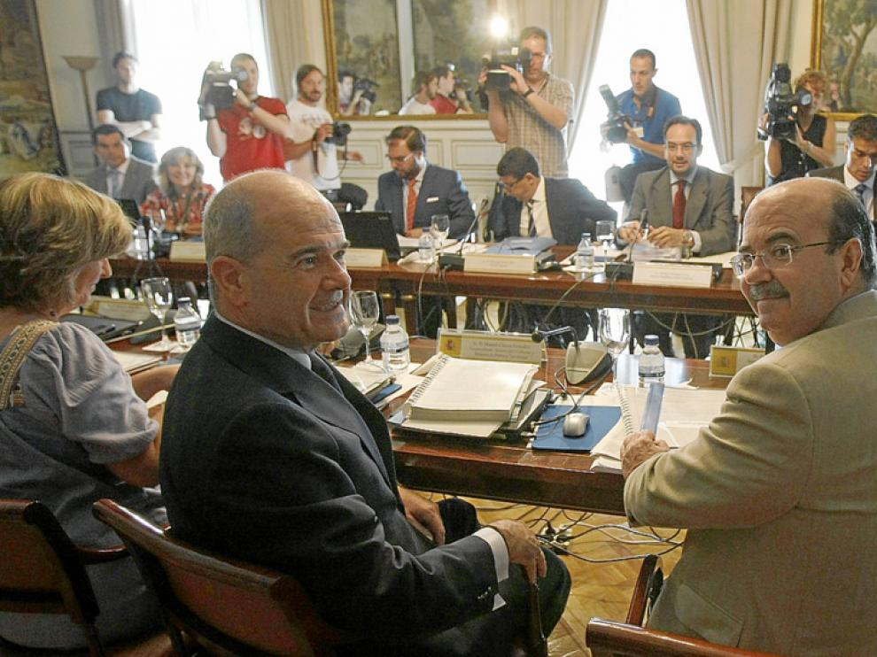 Manuel Chaves y Gaspar Zarrías en la reunión sobre casos de transfuguismo