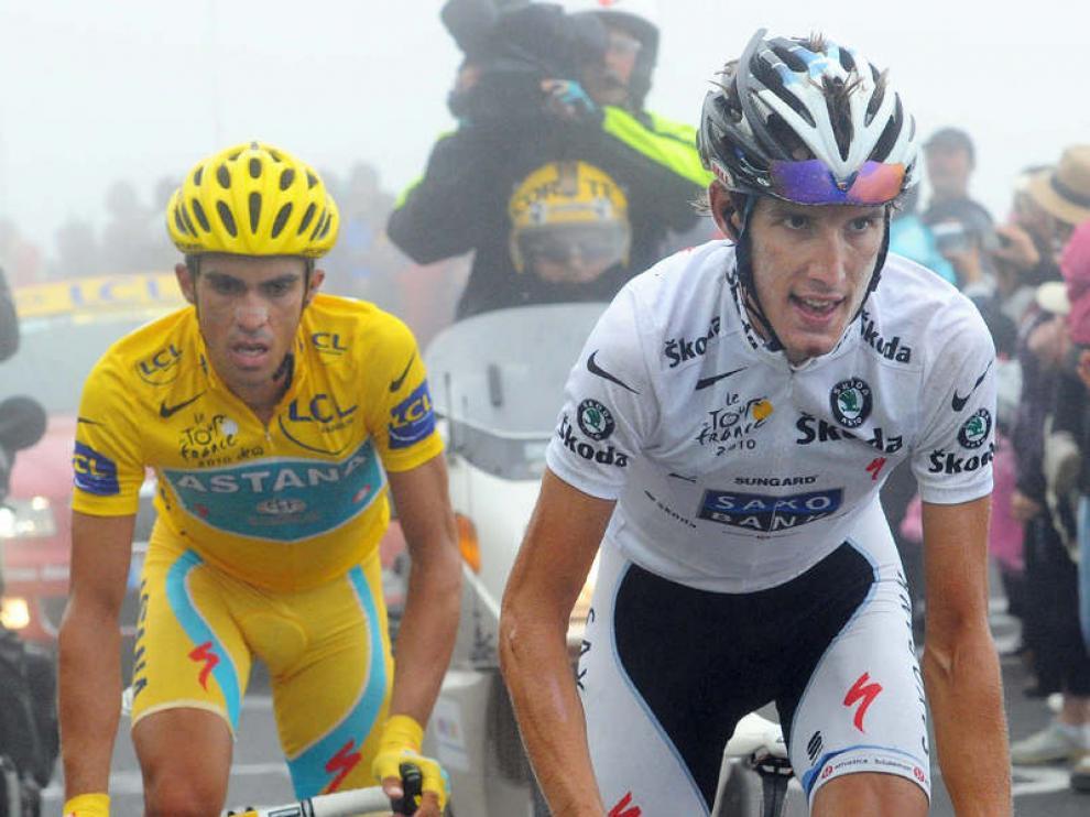 Alberto Contador y Andy Schleck durante la subida al Tourmalet