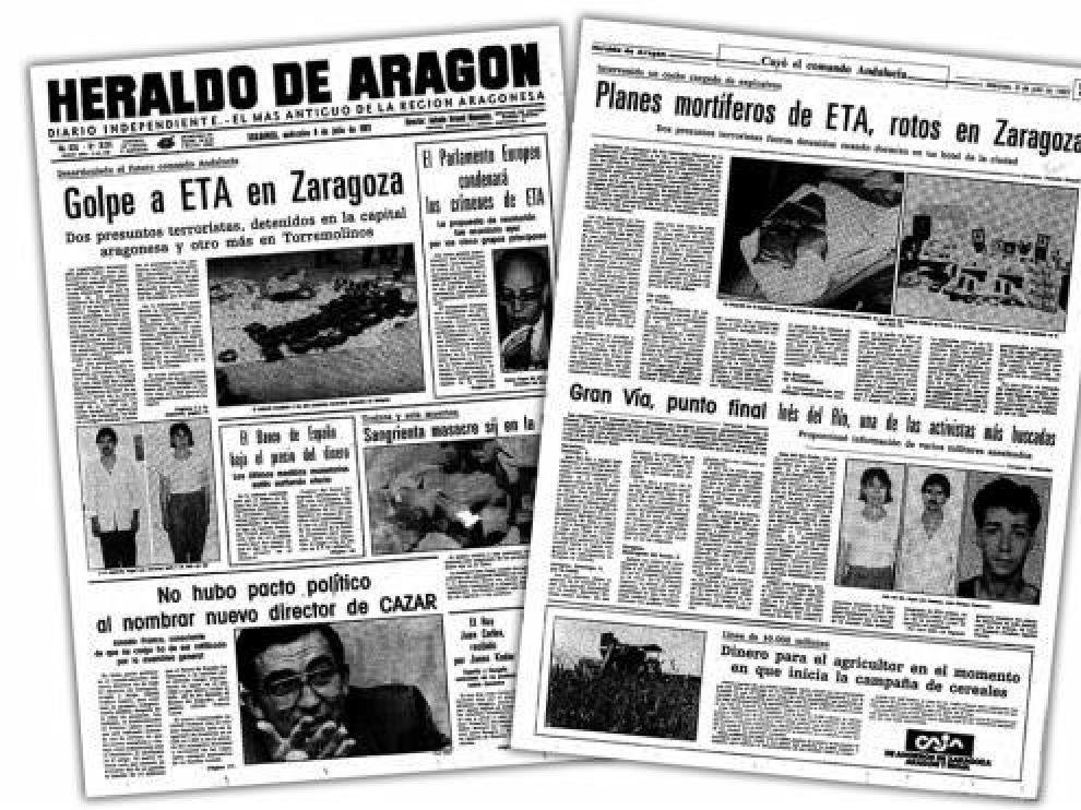Imagen de la portada de HERALDO y de la página 5 del 8 de julio de 1987.