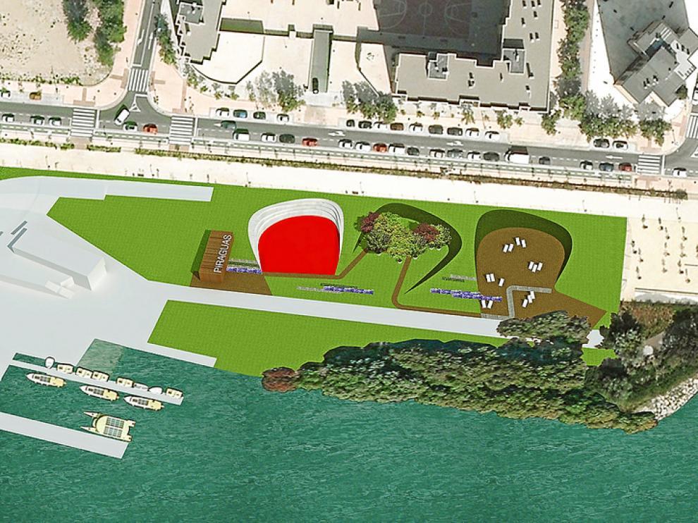 Recreación virtual de la zona verde con área de juego, bosque y playa, que se hará en un solar de Vadorrey.