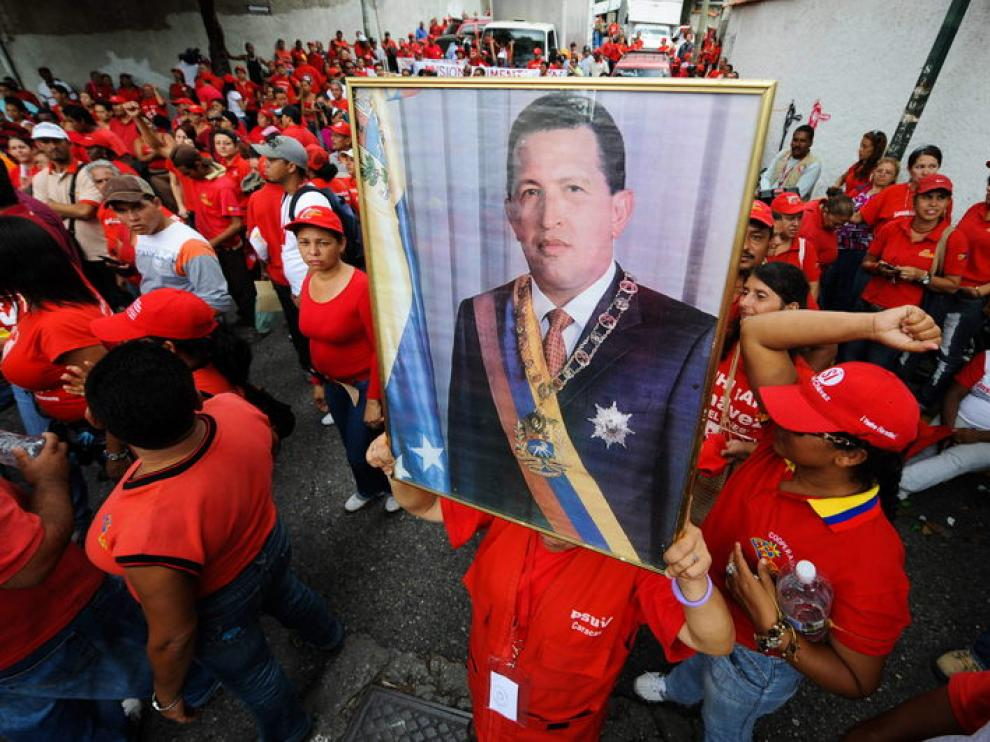 SImpatizantes chavistas en un acto de apoyo al presidente venezolano