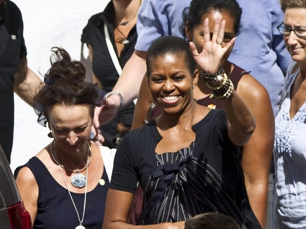 Michelle Obama en su llegada a Ronda en el 2010