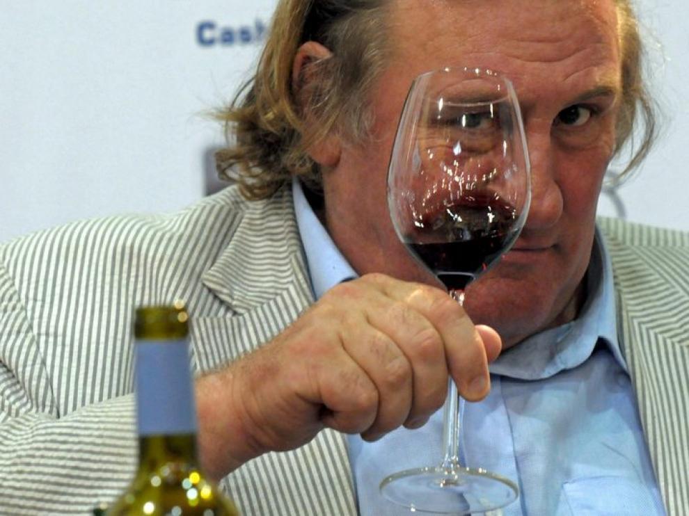 Depardieu, durante un acto promocional de vino