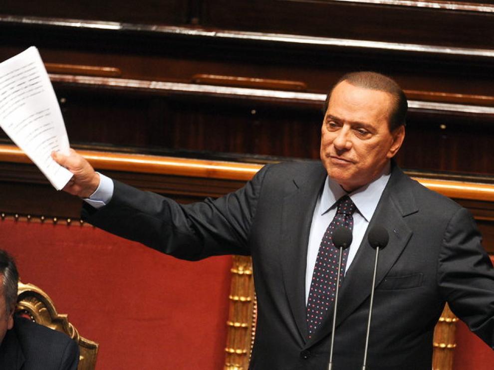 Berlusconi durante un debate parlamentario.