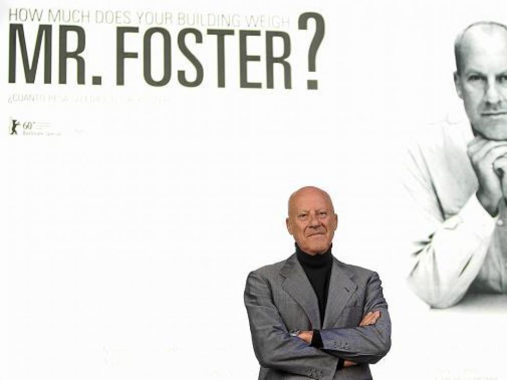 Norman Foster, ayer, en Madrid, en la presentación de su documental.