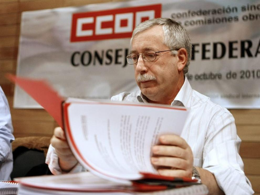 Fernández Toxo durante la reunión del Consejo Confederal de CC. OO.