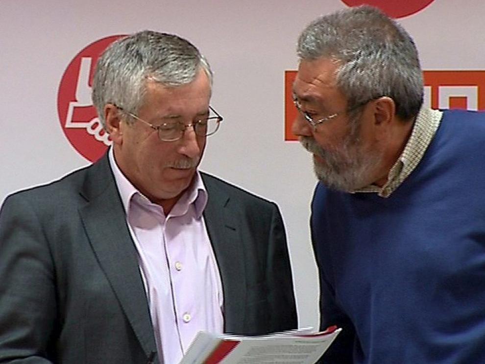 Los líderes de CC. OO. y UGT, Fernández Toxo y Cándido Méndez