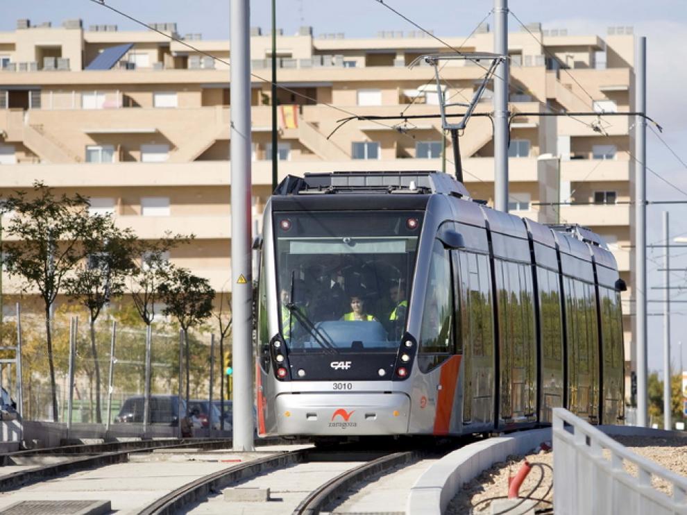 El tranvía de Zaragoza.