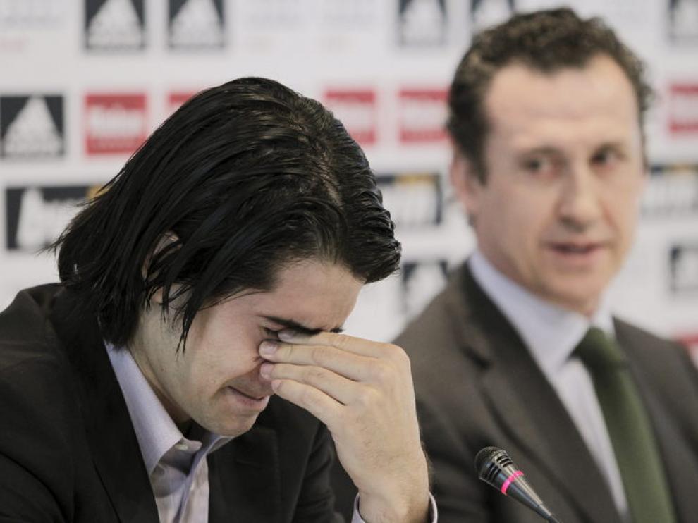 De la Red, durante la rueda de prensa con Jorge Valdano