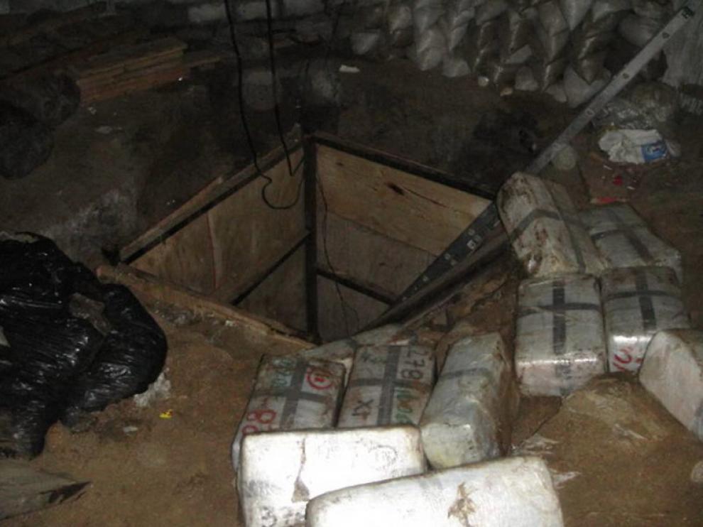 La entrada del túnel en el que se escondía la mercancía