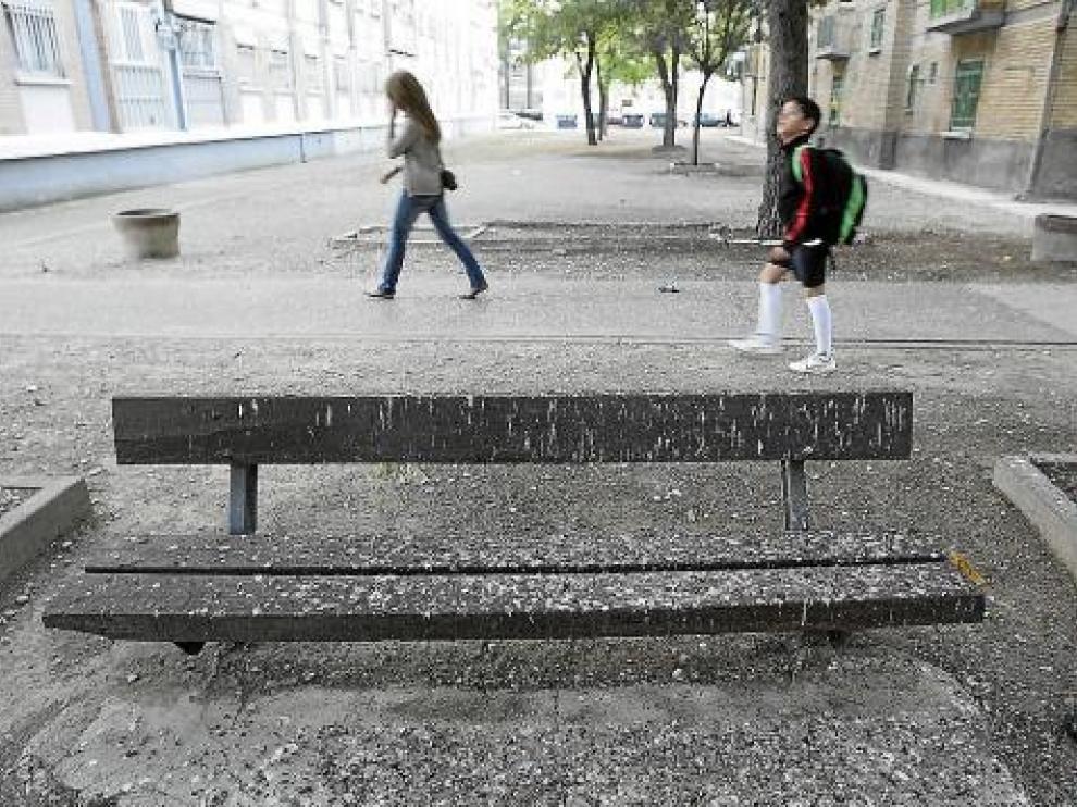Un manto de excrementos cubre el suelo y los bancos del entorno.