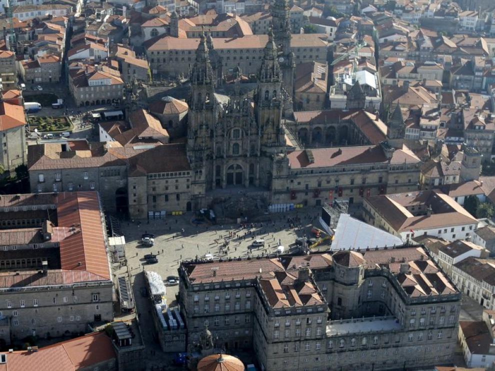 Vista aérea tomada hoy de la plaza del Obradoiro