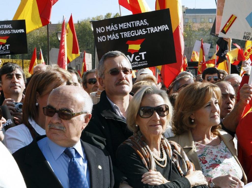 Concentración contra la política antiterrorista, en la plaza de Colón de Madrid.