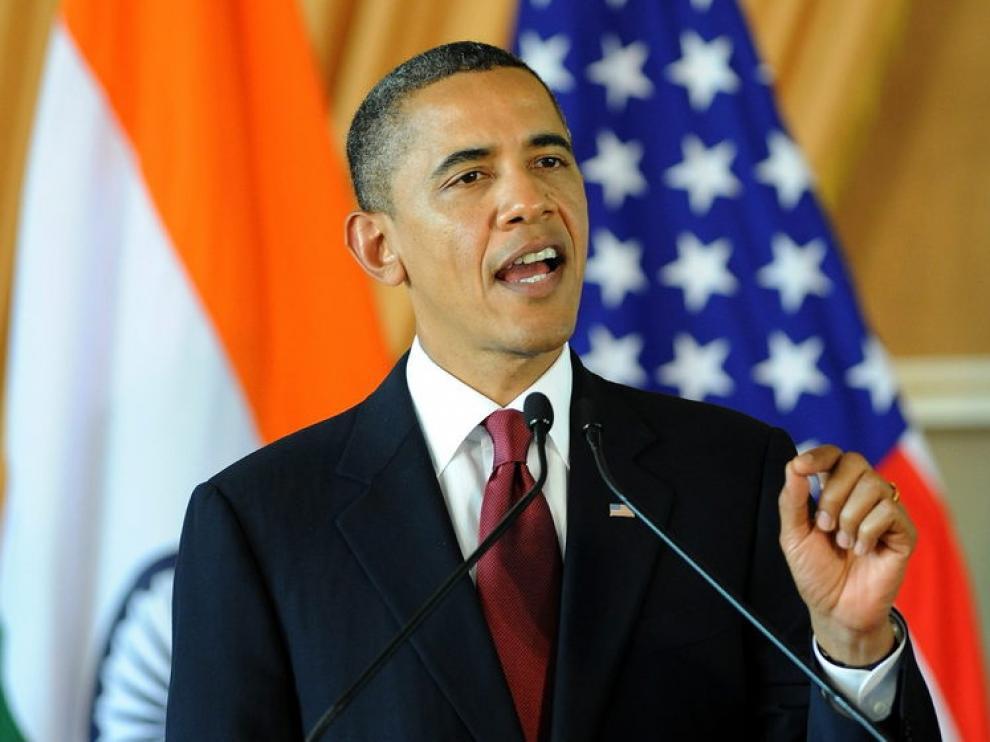 Barack Obama durante su intervención en Nueva Delhi, esta mañana
