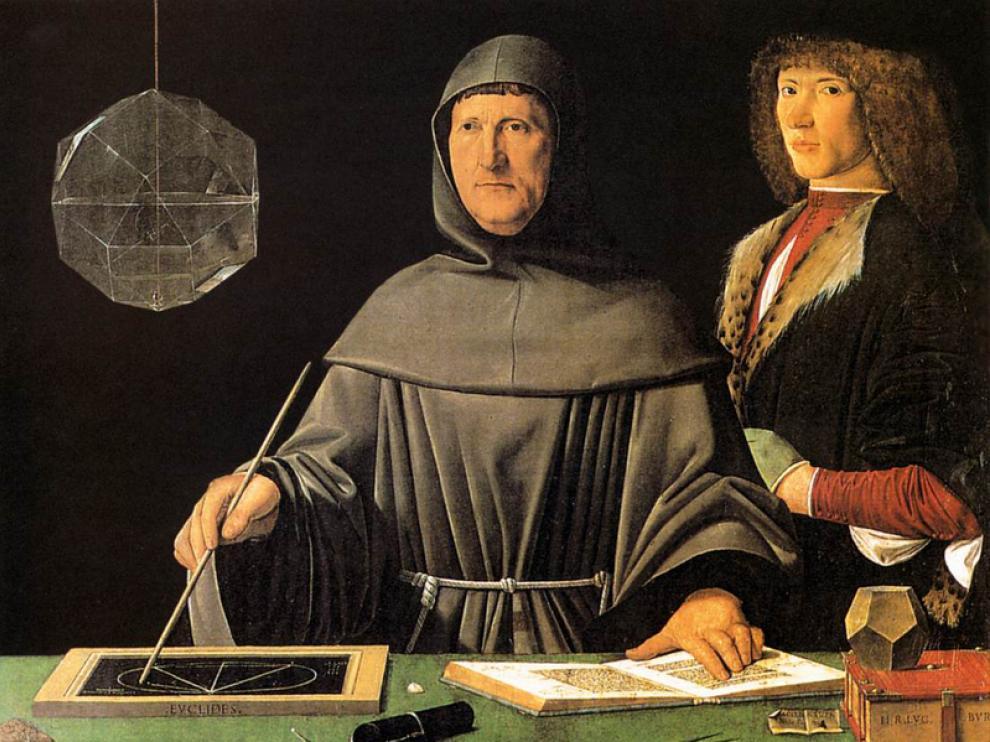 En esta obra de autor desconocido, el matemático Luca Pacioli se acompaña  de un joven cuya identidad también es un misterio