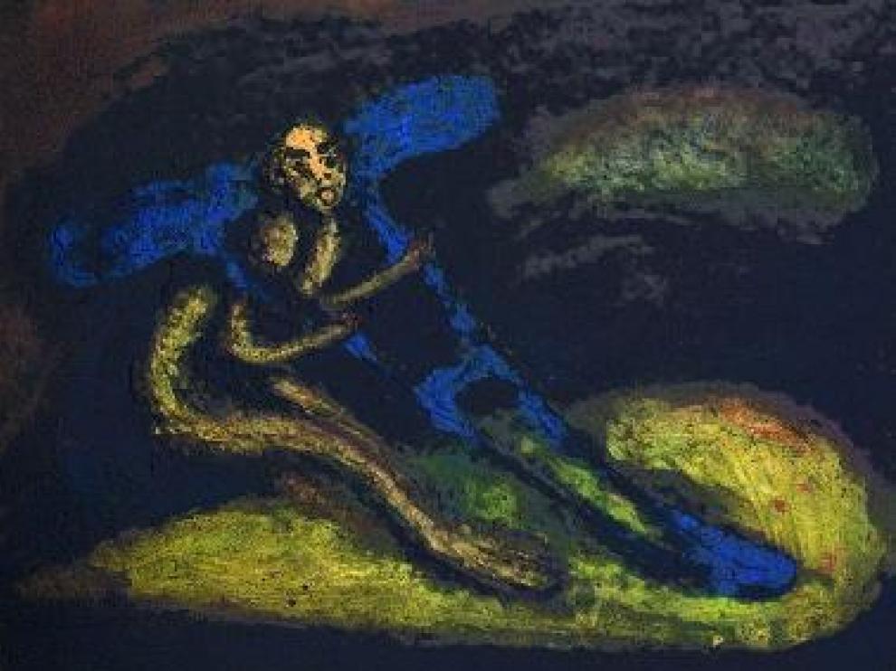 Lienzo de Mira 'Las heridas del filósofo' (1987), técnica mixta.