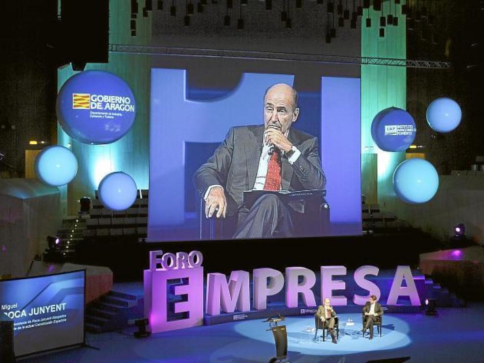 Miguel Roca Junyent, socio presidente de Roca Junyent Abogados, durante su intervención en el Foro Empresa.