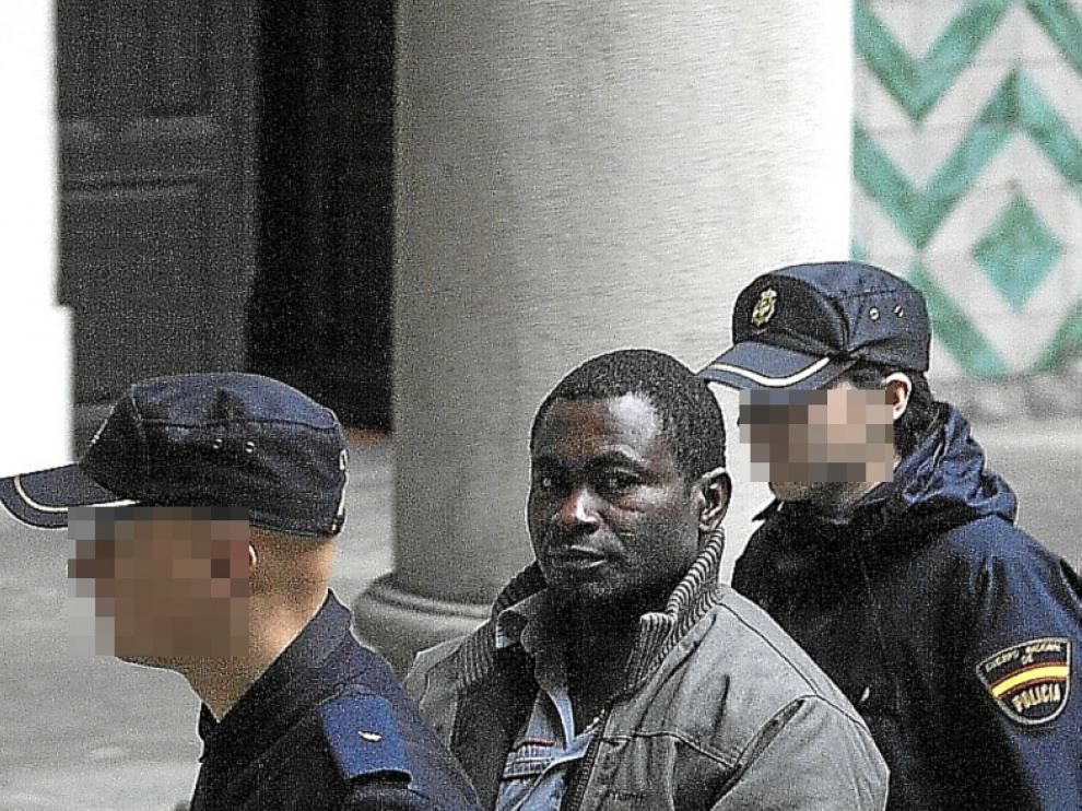 Michael Kofi, a su llegada el lunes a la Audiencia Provincial.