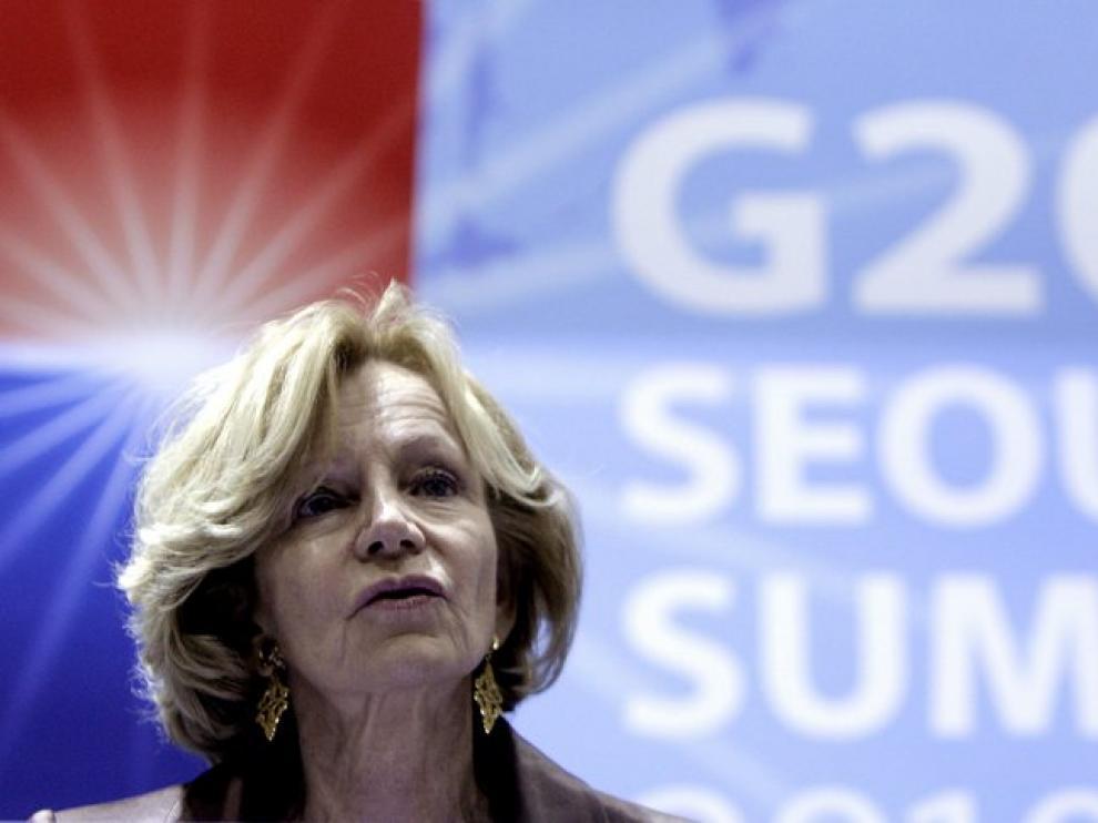 La ministra de Economía, Elena Salgado, durante la cumbre en Seúl