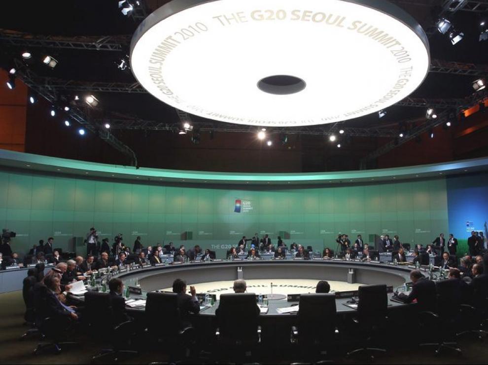 Plano general de la sala donde se reúnen los miembros del G-20