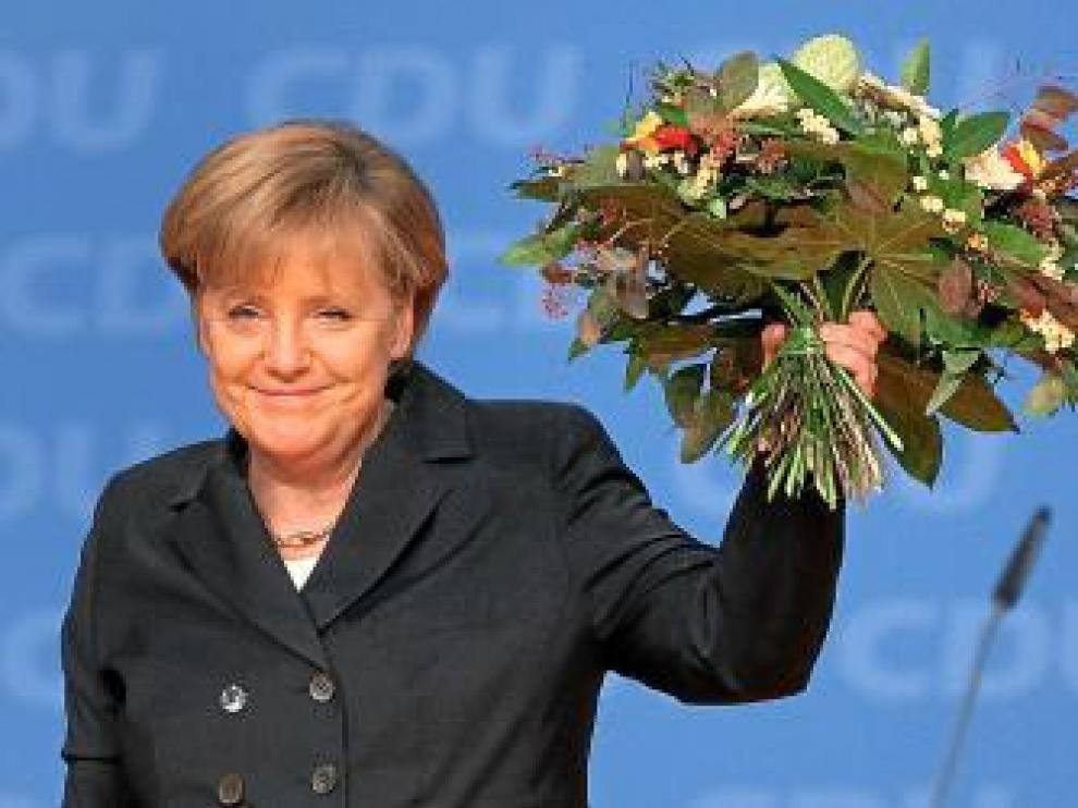 Merkel, después de ser reelegida en el congreso de la CDU.