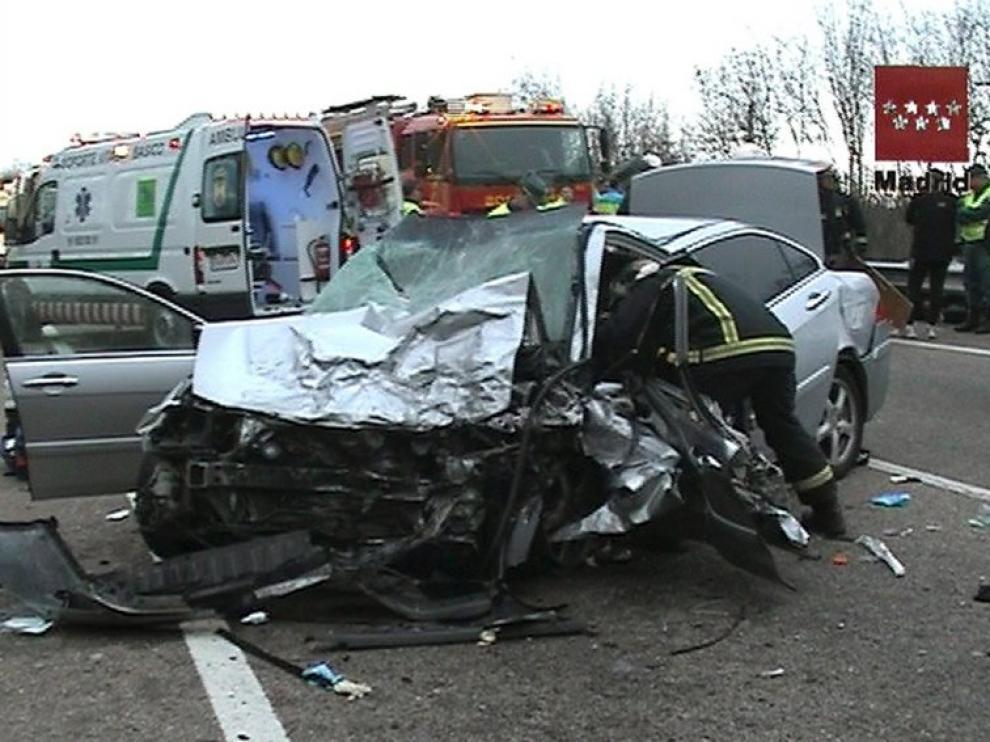 Imagen del accidente ocurrido en Soto del Real, este domingo, en el que falleció un hombre de 41 años