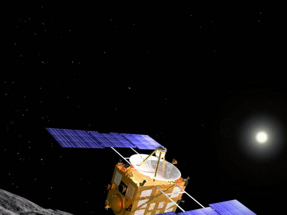 Rrecreación del asteroide 'Itokawa' y la nave 'Hayabusa'