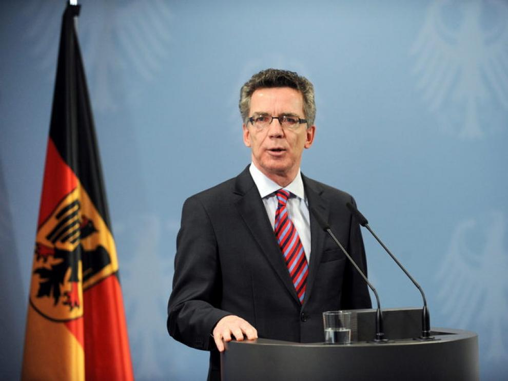 El ministro de Interior de Alemania, Thomas de Mazière, durante la rueda de prensa de hoy en Berlín