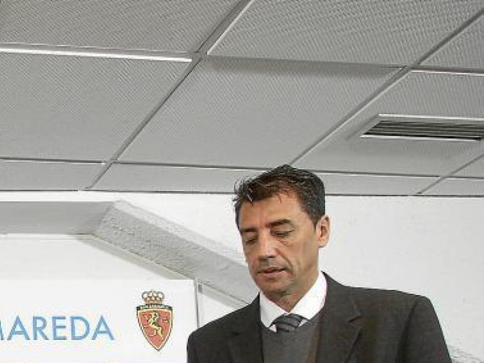 Antonio Prieto, ayer, en la sala de prensa de La Romareda.