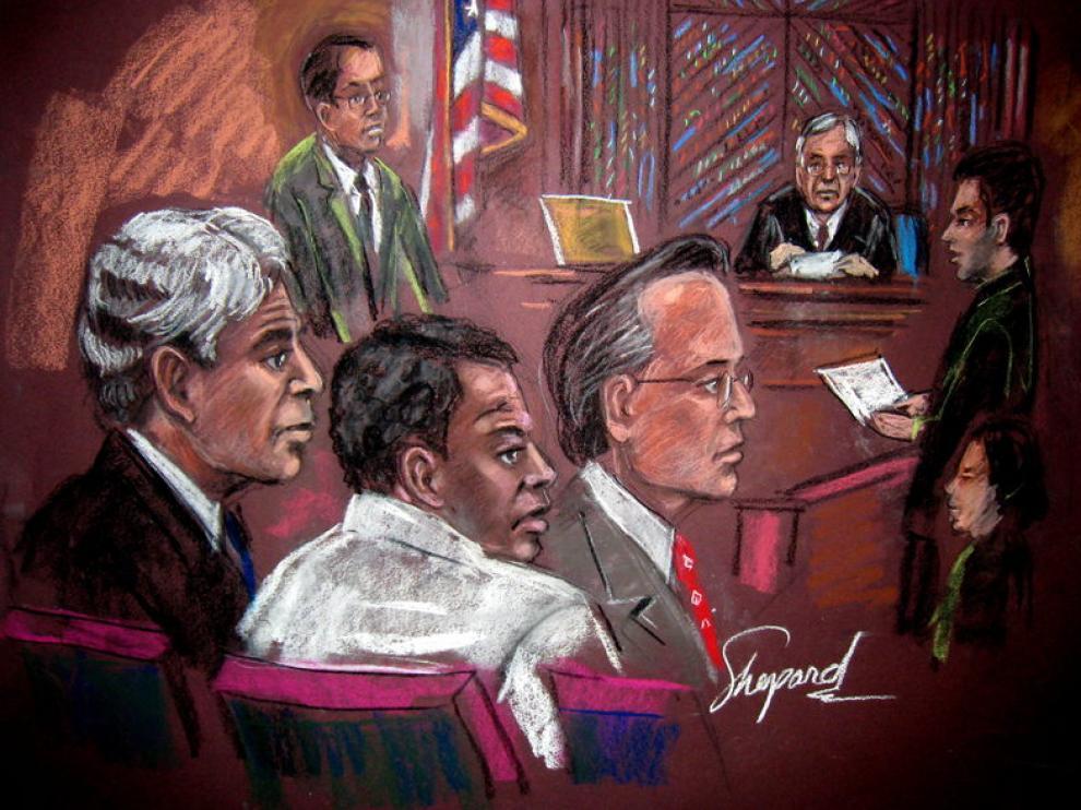 Ilustración en la que aparece el acusado, durante el juicio