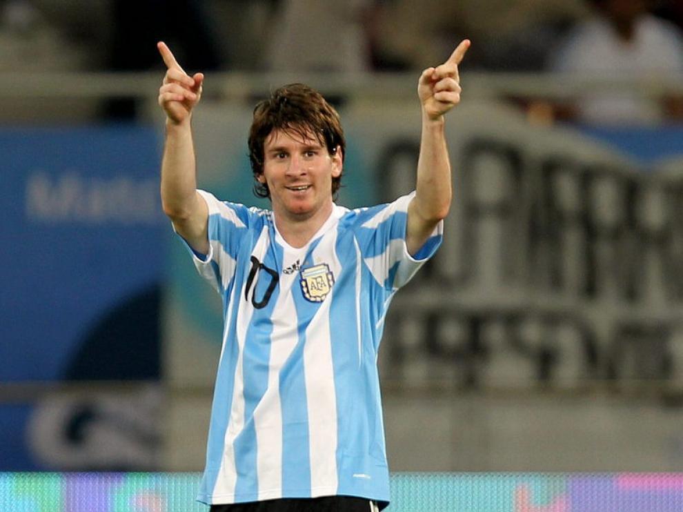 Messi celebra su gol ante Brasil, ayer