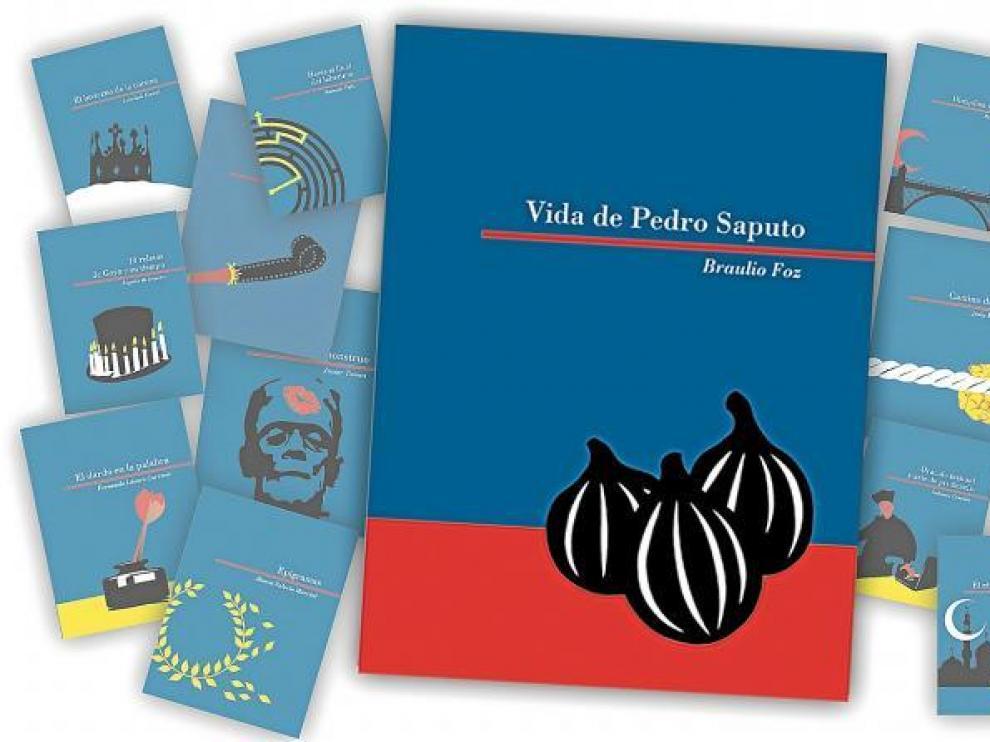 Destacada en el centro, 'Vida de Pedro Saputo', la primera entrega. A ambos lados, las portadas de las siguientes obras de la colección.
