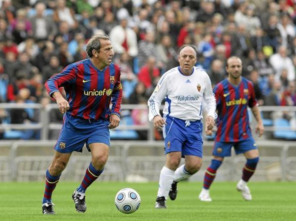 Víctor Muñoz y Pérez Aguerri, en el partido del pasado año. Hoy volverán a jugar en La Romareda.