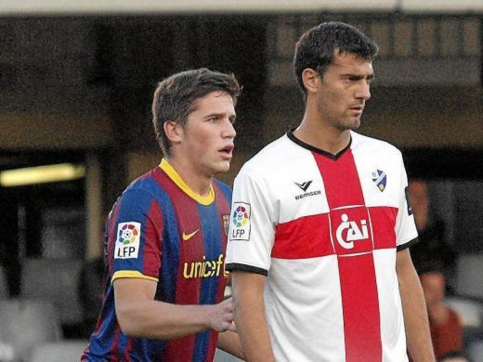 Roberto, en el partido jugado contra el Barcelona en el Mini Estadi.