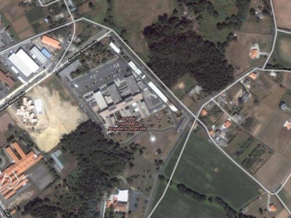 Imagen via satélite del Hospital de Ferrol Arquitecto Marcide