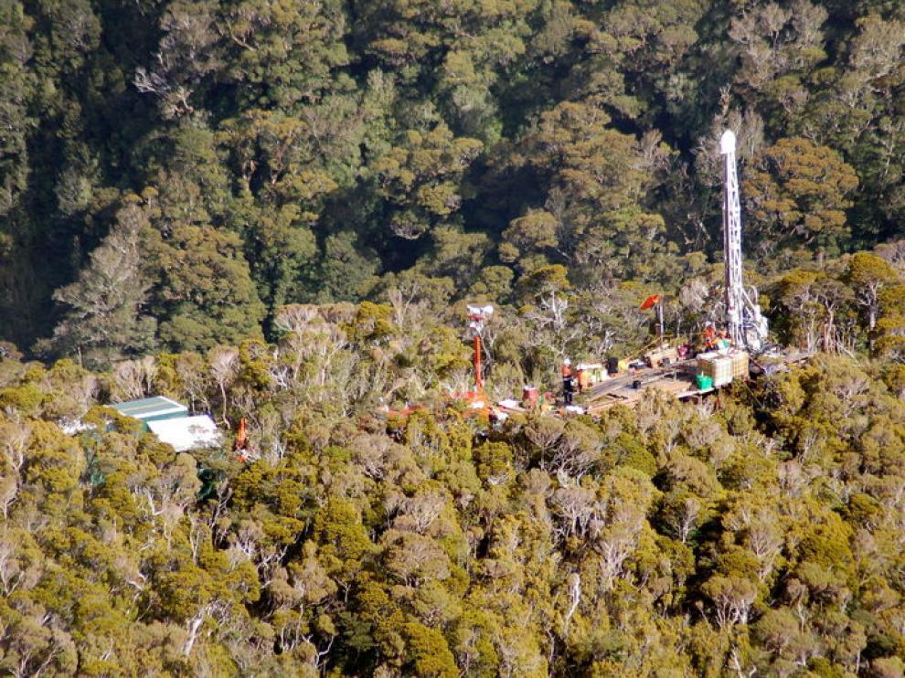 Vista aérea de la mina Pike River, donde están atrapados los 29 mineros neozelandeses