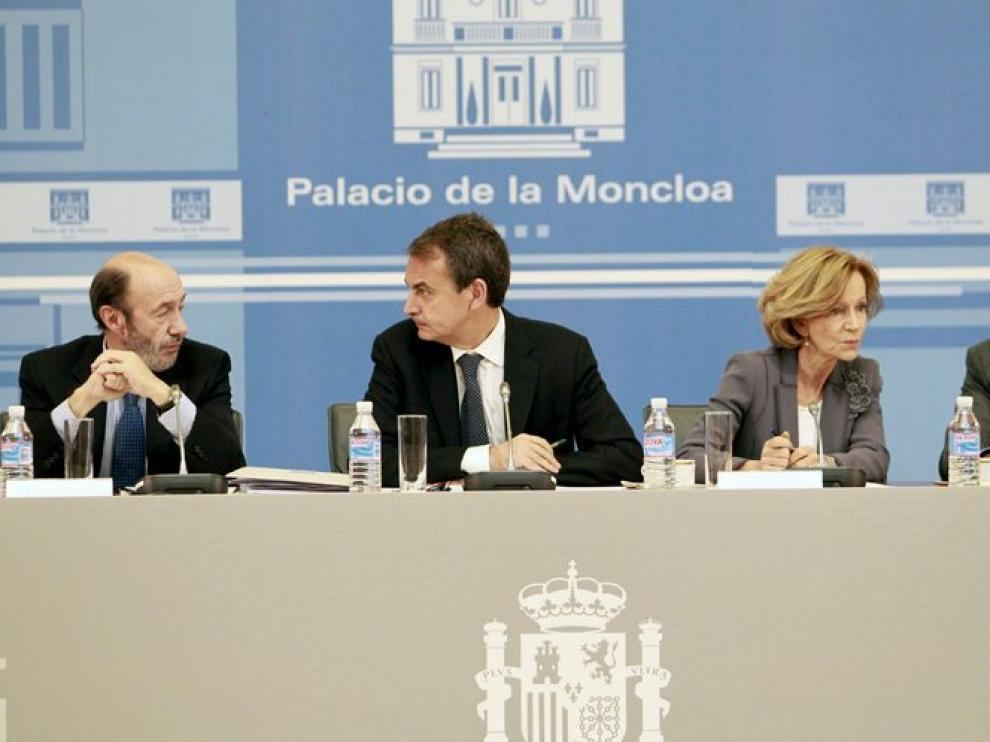 Alfredo Pérez Rubalcaba, José Luis Rodríguez Zapatero, Elena Salgado y Emilio Botín