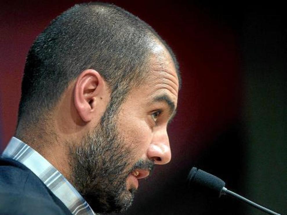 Pep Guardiola, durante la conferencia de prensa de ayer.
