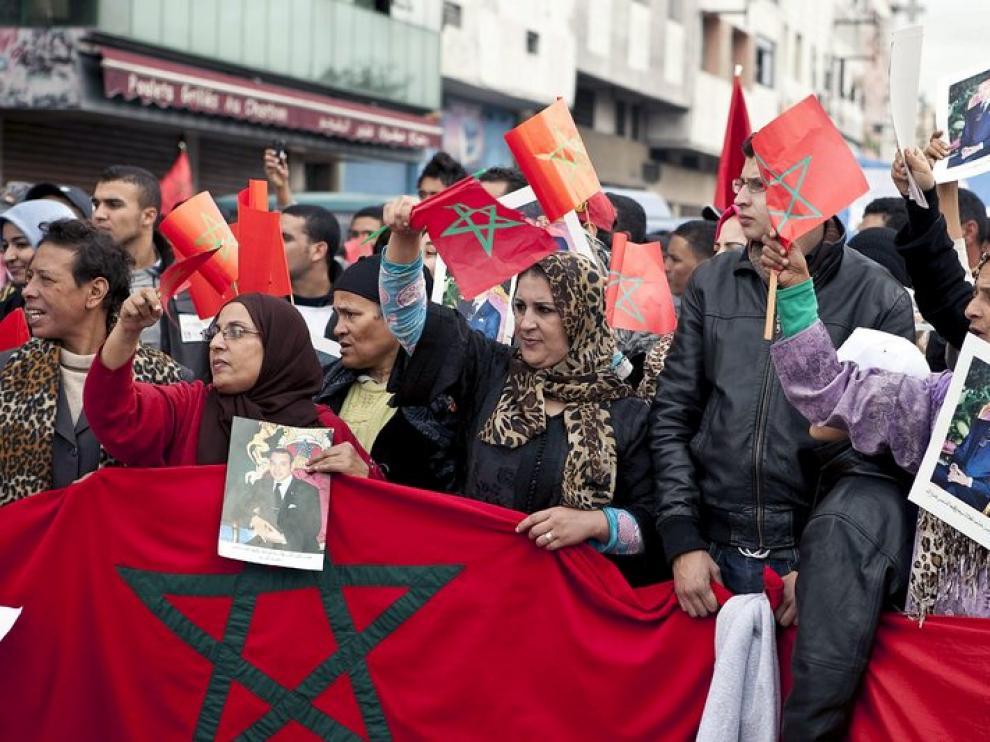 Manifestación en Casablanca contra el Partido Popular.